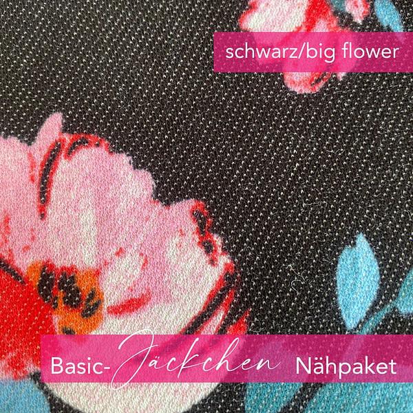 Nähpaket Basic Jäckchen - schwarz/big flower