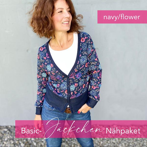 Nähpaket Basic Jäckchen - navy/flower
