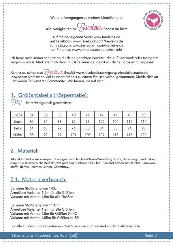 Rüschenbluse Tilly Gr. 34-50 - Schnittmuster und Nähanleitung