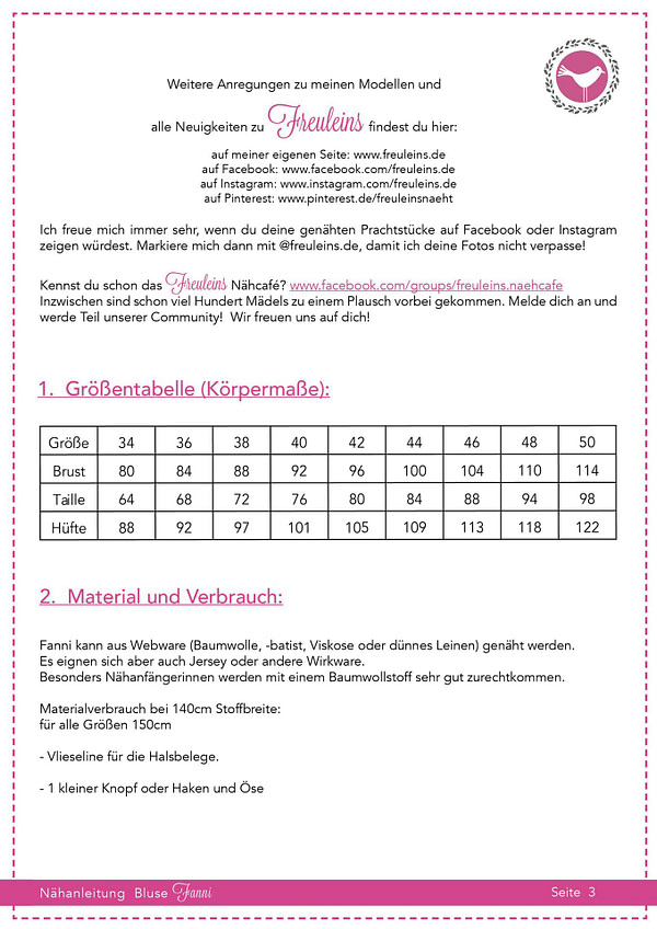 Bluse Fanni Gr. 34-50 - Schnittmuster und Nähanleitung