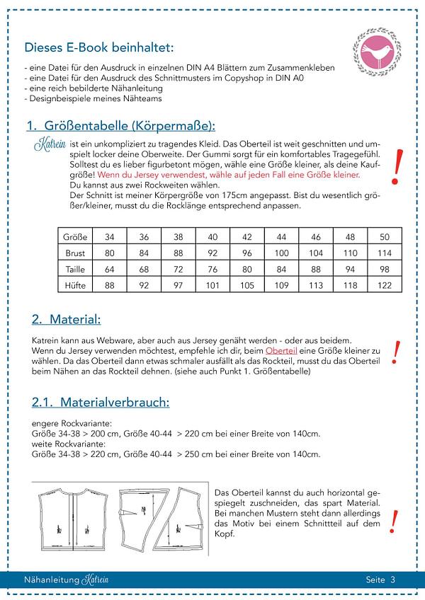 Kleid Katrein in Gr. 34-50 - Schnittmuster und Nähanleitung