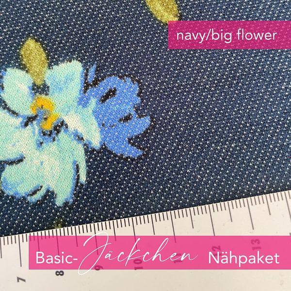 Nähpaket Basic Jäckchen - navy/big flower