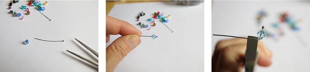 Fädele die Perle auf den Kettelstift auf und winkele diesen mit der Flachzange im rechten Winkel ab.